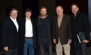Jim Free, CMA ex-officio board member and President/CEO of The Smith-Free Group; Ken Burns; Dierks Bently, CMA board member; Dayton Duncan; Kix Brooks, CMA board member (Photo: Caitlin Harris/CMA).