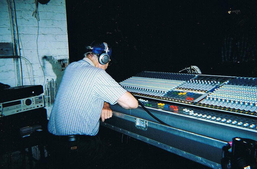 Sullivan at work on his sound board (Sullivan family collection)